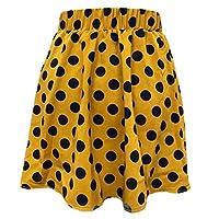 GAGA Women Pleated Elastic Plaid Skirts Schoolgirls Mini A-line Skirt Yellow S