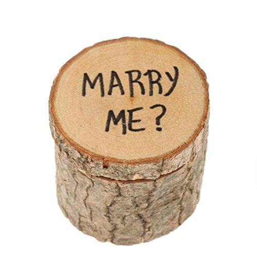 Ultnice 2pcs scatola anell di legno portafedi shabby chic con stampato marry me per festa di fidanzamento matrimonio