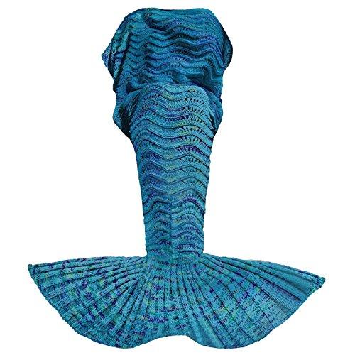 Gosear Stricken Meerjungfrau Heck Gehäkelt Gestrickte Decke Schlafsack Mermaid Tail Decke für Erwachsene Geburtstag Weihnachtsgeschenk 180 x 90 cm / 70.8 x 35.43 Zoll Blau