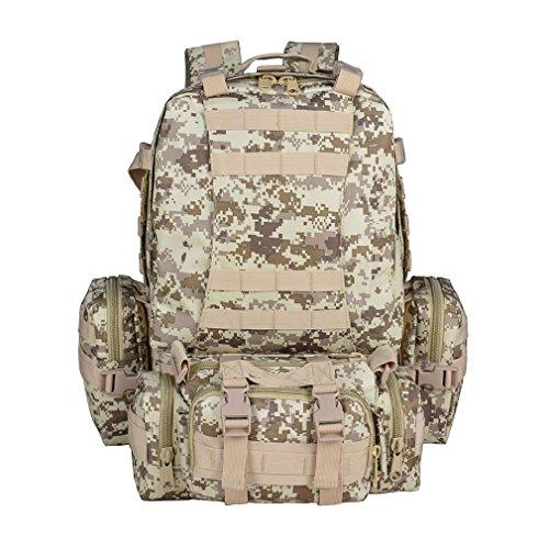 Kinder Desert Digital Camo (Außen Military Tactical Armee Rucksack 55L Camo Arid Woodland Wasserdicht MOLLE Assault Packungen für Mann und Frauen klettern Reisen Camping Rucksack, Desert Digital color)