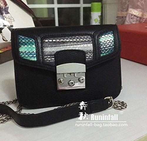 Nouvelle couche supérieure de la chaîne en cuir petit sac en cuir grain baodan petit sac à bandoulière Messenger Bag couleur Litchi Black + Green