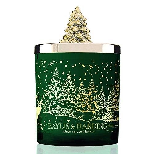 Baylis & harding winter spruce & berries, candela profumata per le feste in barattolo con coperchio a forma di albero di natale