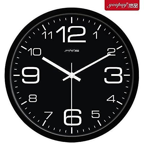 XB.T Regalos de Navidad regalos de Halloween simple en blanco y negro Salón grandes relojes de decoración del hogar moderno de silenciar el dormitorio Hall Reloj de pared de 14 pulgadas Negro Caja de