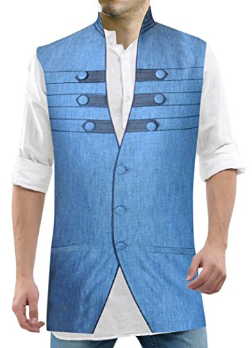 INMONARCH Mens Himmelblau Nehru hemd stehkragen 3 Taste 2 Pocket NV14XL54 64 Extralang or 7XL (Höhe 190 cm + Oben) Sky blue (2 Pocket-leinen-tunika)