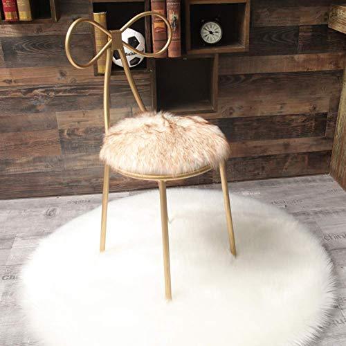 ZGYQGOO Rundes Schaffell-Sitzkissen, Lange Wollteppiche für den Boden Hochflor-Plüsch-Teppich für Kinder Kinder-Wohnkultur (nur 1 Stück) -g 35 x 35 cm (14 x 14 Zoll)