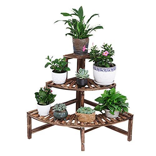Zgxl scaffali porta piante settore porta fiori con 3 livelli per interni soggiorno balcone di legno a pavimento stand plant mensola angolare einfach und modern