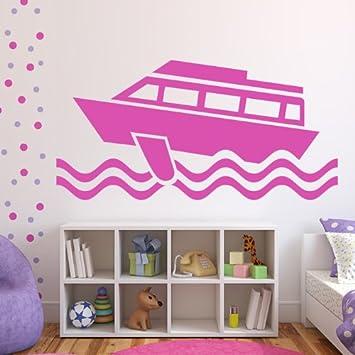 Fähre Auf Dem Meer Cartoon Boote Wandsticker Badezimmer Haus-dekor ... Badezimmer Zitronengelb