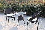 tavolo + 2 poltrone polirattan nere c/cuscini immagine