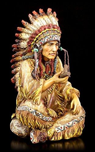 Indianer Häuptling Figur mit Friedenspfeife | Western Deko Statue Indianer Büste