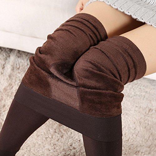 MAYOGO Damen Winter Solid Thermo Strumpfhose Warm Leggings mit Fleece Gefüttert,Ferse Drücken Shapewear Skinny Hose -