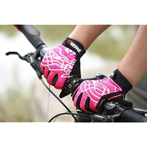 Lerway Invierno Hombre / Mujer Ciclismo Bici Hípica Deporte Exterior, Acampada y Senderismo Dedo Completa Guante (Rosado, M)