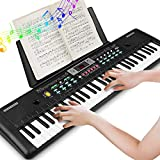 Keyboard, Multifunktions Digital Piano 61 Tasten Keyboard Set mit Mikrofon Notenständer Netzteil Für Kinder Geschenk,ideal für Kinder und Einsteiger,umfangreiche Lernfunktion