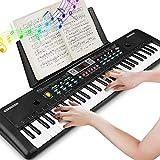 RenFox Clavier Portable 61 Touches, Microphone, Clavier de Piano Rique de Musique d'alimentation pour Enfants/Adulte