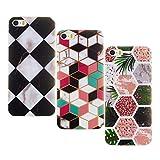 Misstars 3X Coque en Silicone pour iPhone 5C Marbre, Ultra Mince TPU Souple Flexible Housse Etui de Protection Anti-Choc Anti-Rayures pour iPhone 5C, Tropical Forests+Coloré Géométrique+Noir Blanc