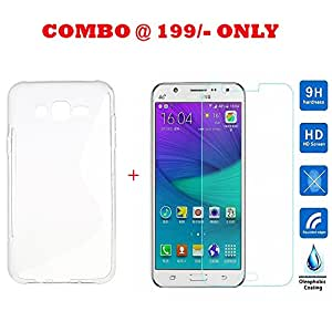 Samsung Galaxy J7 Prime COMBO OFFER : Soft Silicon TPU Back Cover + Premium HD 9H 0.33mm Curved Edge Tempered Glass