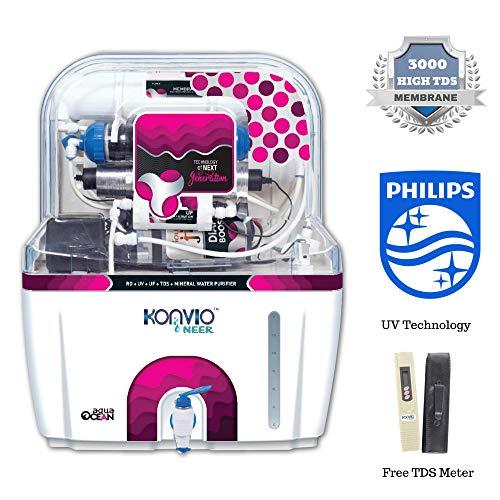 Konvio Neer Mineral Elixir Water Purifier RO UV UF TDS Adjuster (Pink)