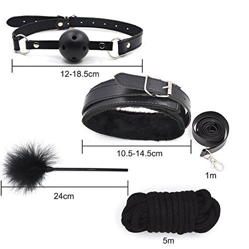 10 teiliges BDSM Bondage Set Halsbänder, Handschellen, Seile, Knebel, Peitsche usw. - 8