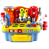 Educational Pretend Play Baby Toy - WISHTIME Kids Work Tool Bench Musical Tool Kit Play Set with Shape Sorter for Children & Kids Boys and Girls