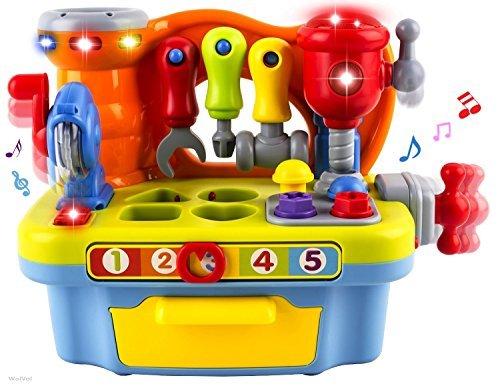 WISHTIME Werkzeugbank mit Zubehör, Musik und Licht für Kinder