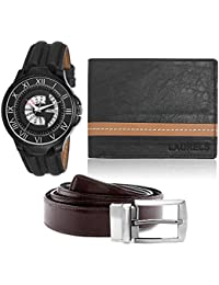 Laurels Analogue Black Dial Men's Watch , Wallet & Belt Combo - Cp-Mag-020202-Flcn-0206-Vt-0209