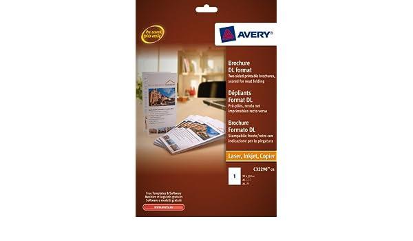 avery c32290 25 25 x fogli per brochure formato dl a4 pieghevoli