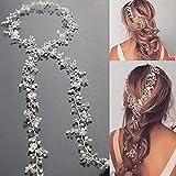 Simsly Vines capelli sposa fiore di cristallo fasce per capelli, accessori per capelli per sposa e damigelle (argento) fs-144