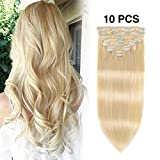 Remy Clip in Hair Extensions Blonde 16 Inch #613 100 Gram 10 PCS
