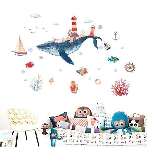 Adesivo Da Parete Mondo Subacqueo Whale City Acquerello Adesivi Murali Bambino Vetro Wndow Adesivi Murali Bagno Per Camerette Decorazioni Per La Casa Murale 138X101 Cm