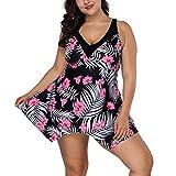 FeelinGirl Damen Badeanzug Bademode Bauchweg Print Flower Beach Bikini Set Tankini Oberteile Top Plus Size (Weinrot, XL (EU 54-56))