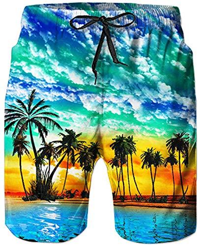 Goodstoworld Herren Badehose Hawaii Aloha Strand Druck Trocknen Schnell Badeshorts Sommer Schwimmen Strand Surf Shorts Bademode Mit Netzfutter S