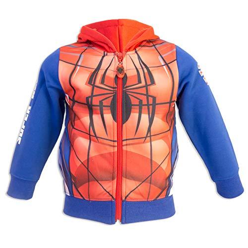 Marvel Spider-Man - Felpa Premium con Cappuccio Maschera Zip e Tasche - Full Print - Bambino - Novità Prodotto Originale 0331HR [Blu - 8 anni - 128 cm]