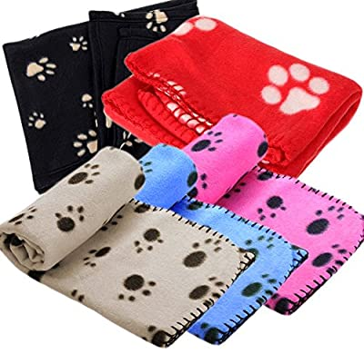 Ama-ZODE 1X Winter Pet Small Medium Large Paw Print Pet Cat Dog Soft Blanket Beds