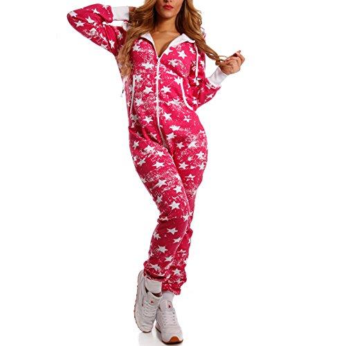 Crazy Age Jumpsuit Overall Weihnachtsmotive Einteiler Ganzkörperanzug Stars one Piece (XS=34, Pink) - 2