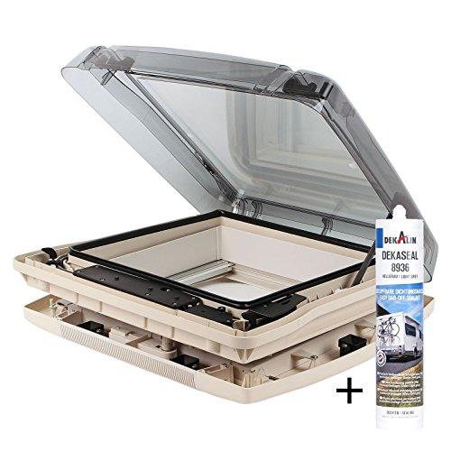 Dachfenster Remis Remitop Vario II 40 x 40 cm Klar, Kurbelvariante + Dekalin Dichmittel für Wohnwagen Oder Wohnmobil