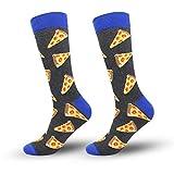 ECOMBOS Herren Socken Bunt - Baumwolle Socken Herren, Gemusterte Socken, Socken Muster 4 Paare Lustige Socken, Modische Socken Mehrfarbig Bunt Klassisch Feine Baumwolle 38-45 (Schwarze Pizza)