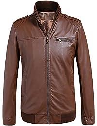 sulandy @ para hombre adultos traje de chaqueta Otoño Invierno Abrigos de Piel Sintética Motorista de motocicleta Moto estilo Outwear