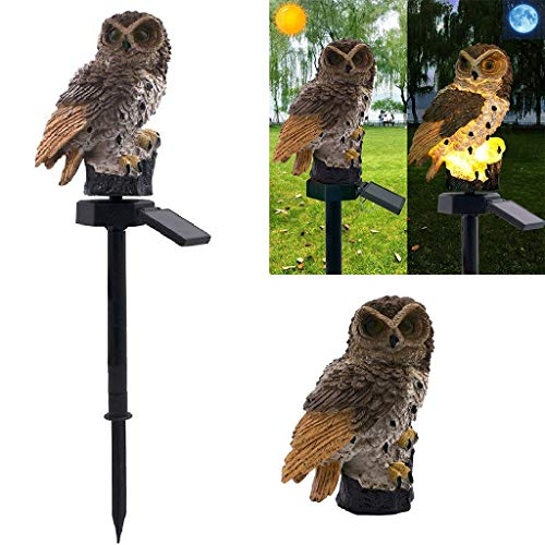 Tianfudedian Neuheit Ornament Eule Tier Vogel Outdoor LED Dekor Skulptur wasserdichte Solarlampe (Brown) -