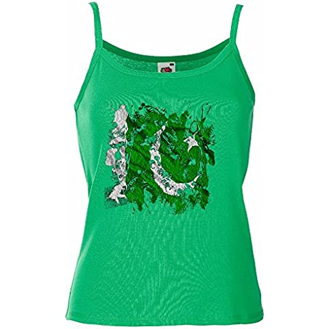 Graffiti Bandiera Collezione 3, Fruit of the Loom Lady-Fit Women Strap Tee Verde Prato Cotone Top e Canotte Spalline Donna con Design Colorato. Taglia XS S M L XL 2XL.