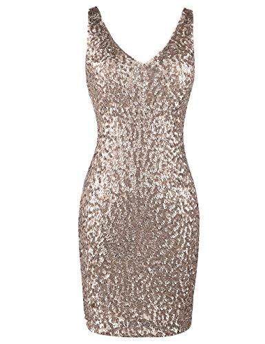 PrettyGuide Damen reizvoller tiefer V-Ausschnitt Pailletten Glitzer Bodycon Stretchy Minipartei-Kleid XL Champanger