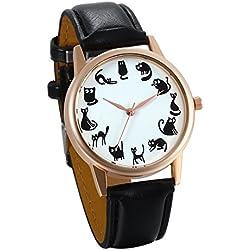 JewelryWe Relojes de Verano Reloj de Pulsera para Mujer 12 Gatos Adorables, Reloj Analogico Cuarzo Correa de Cuero Negro Buen Regalo Original