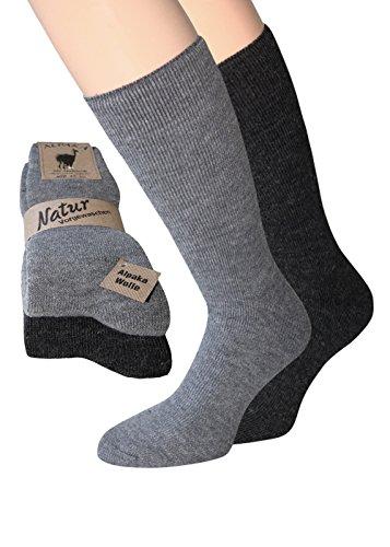 Alpaka Socken Herren und Damen dick weich soft mit Alpaka Wolle Socken in Naturfarben (39-42, Alpaka Thermo 1xgrau/1xdunkelgrau)