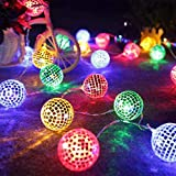 KING String Lichter marokkanischen Ball 10 / 20LED Globe Fairy String Kugel Laterne Patio (B)