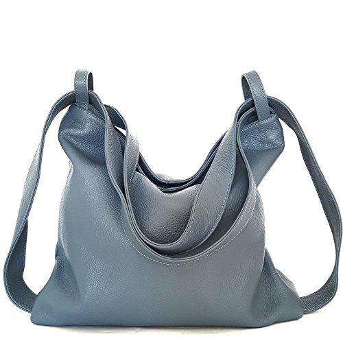 Frauen-Rucksack-Tasche-leder verwandelbar Umhängetasche hellblau (Stoff Taupe Handtaschen)
