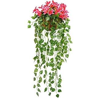 CJJC Artificial Begonia Flor Falsa Rota Guirnalda, Creativo Colgar en la Pared Flor de la Planta Vid hogar Pasillo decoración de jardín 4pcs