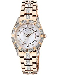 (CERTIFIED REFURBISHED) Bulova Crystal Analog Mother of Pearl Dial Women's Watch - 98L197