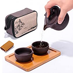 Tragbare Reise Kungfu Zisha Tee Set, handgefertigte lila Ton Teekanne & 2 Teacups, traditionelle chinesische( Wunschstil)