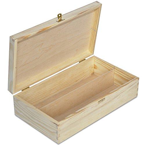 Creative Deco Weinkiste Holz Weinbox | für 2 Flasche | 35 x 20 x 9,5 cm | Holzkiste Holzbox mit Deckel Geschenke | Natürliches Kiefernholz | Perfekte für Decoupage, Lagerung, Dekoration