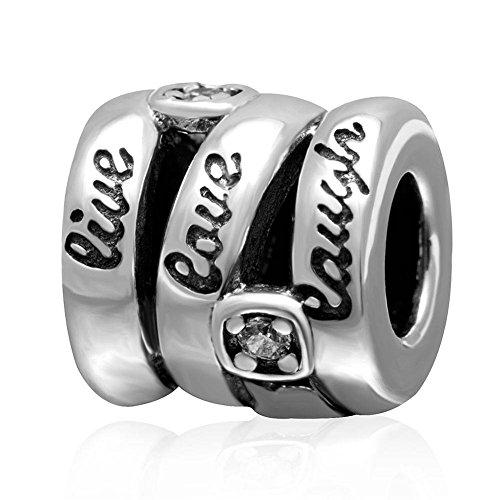 Soulbead Live Love Laugh, ciondolo a spirale in argento Sterling 925con zirconia cubica trasparente nuova vendita Cheap perline per braccialetto con catena a serpente compatibile - Live Love Laugh Bracciale