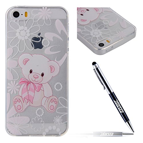 JAWSEU Coque Etui pour iPhone 6/6S 4.7,iPhone 6 Coque en Silicone Transparent,iPhone 6S Souple Coque Ultra Slim Clair Etui Housse,iPhone 6S TPU Gel Protective Cover,Ultra Mince Flexible Soft Clear Cas Lovely Ours