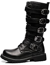 Sunny&Baby Men's Shoes Lace Up Belt Buckle Leather Upper Mid Calf Combat Boots For Gentlemen Run A Size Larger Abrasion Resistant